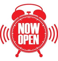 Now open red alarm clock vector image vector image