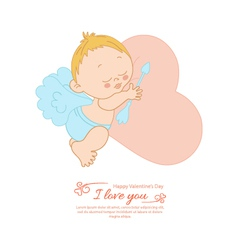 Postcard Valentines Day with Cupid vector image vector image