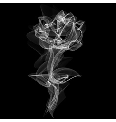 Realistic smokey rose isolated on black vector