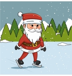 Santa claus ice skating landscape graphic vector