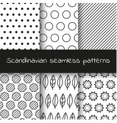 set of 6 black and white scandinavian seamless vector image vector image