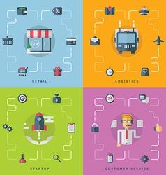 Set of flat conceptual retail logistics startup vector