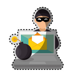 sticker color silhouette with hacker and laptop vector image