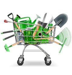 Supermarket trolley with garden accessories vector