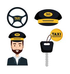 Taxi service set driver key internet elements vector