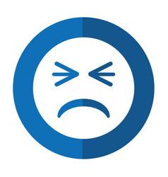 Unhappy face emoticon funny shadow vector