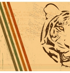 Vintage tiger background vector
