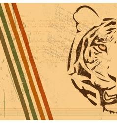 vintage tiger background vector image