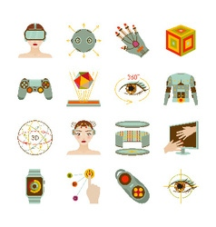 Virtual reality and gadgets icons set vector