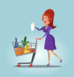Woman with shopping basket full of fresh products vector