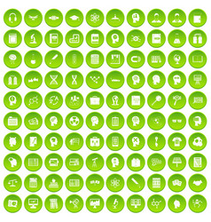 100 knowledge icons set green circle vector