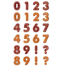 Gingerbread digits for christmas vector image