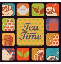 icon for tea time vector image