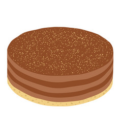 Trendy hipster cheesecake or chocolate pie in flat vector