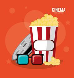 cinema pop corn box glasses and reel film vector image