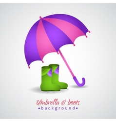 Opened bright umbrella and rain boots vector