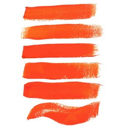 Orange ink brush strokes vector