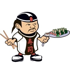 Asian chef cook vector