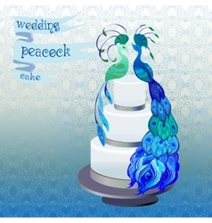 Wedding cake with couple peacocks blue green vector