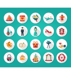 Set of flat design wedding and marriage icons vector image