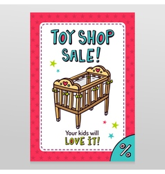 Toy shop sale flyer design with baby crib vector