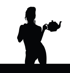 Woman black silhouette with teapot vector
