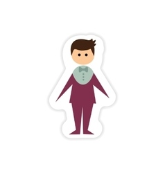 Paper sticker on white background groom suit vector