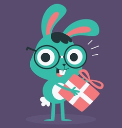 Nerd bunny holding a present vector
