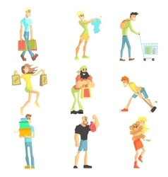 People shopping collection vector