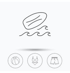 Surfboard beach ball and trunks icons vector