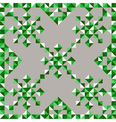 Abstract triangle snowflake pattern in green vector
