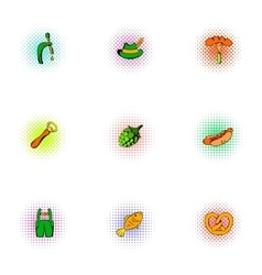 Alcoholic beverage icons set pop-art style vector image vector image