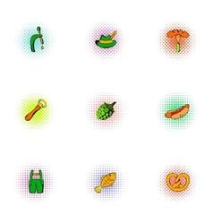 Alcoholic beverage icons set pop-art style vector image