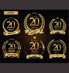 anniversary golden laurel wreath 20 years vector image vector image