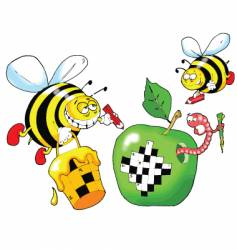 Bee and a crossword puzzle vector