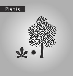 Black and white style icon of castanea vector