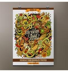 Cartoon hand drawn doodles mexican food poster vector