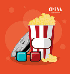 Cinema pop corn box glasses and reel film vector