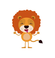 Colorful caricature of cute lion disgust vector