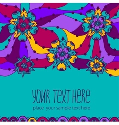 Colorful greeting card with flowers vector