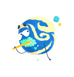 cute humanized blue planet character brushing its vector image vector image