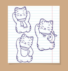 Cute japanese cats sketch set vector
