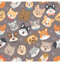 Dogs heads seamless pattern background set vector