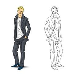 Elegant young man in business suit vector
