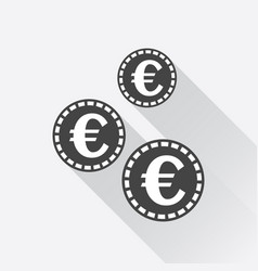Euro coins icon in flat style black coin on white vector