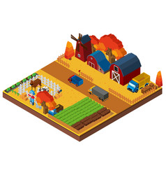 Farm scene with farmer and barns in 3d design vector