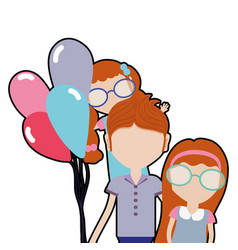 Father with his daughters and balloons vector