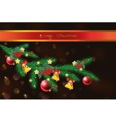 Festive christmas tree branch vector