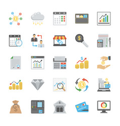 Flat set of finance icons vector
