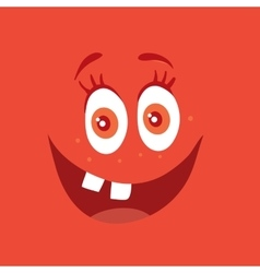 Funny Smiling Monster Red Smile Bacteria Character vector image